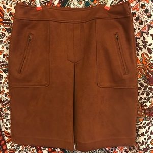 Brown suede Loft Outlet midi skirt size 10